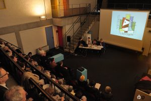 Vendredi 13 mai, 3ème conférence de presse à la Maison de la Culture Le Corbusier à Firminy : présentation du programme de la première édition devant un public nombreux et conquis